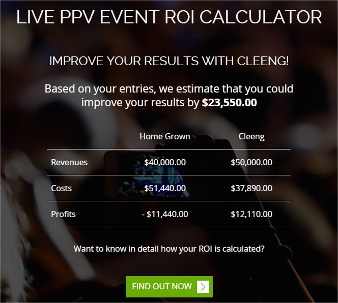 Calculated cost and revenue - ROI calculator by Cleeng