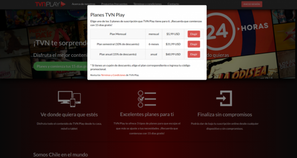 SVOD service options - TVN Play Chile