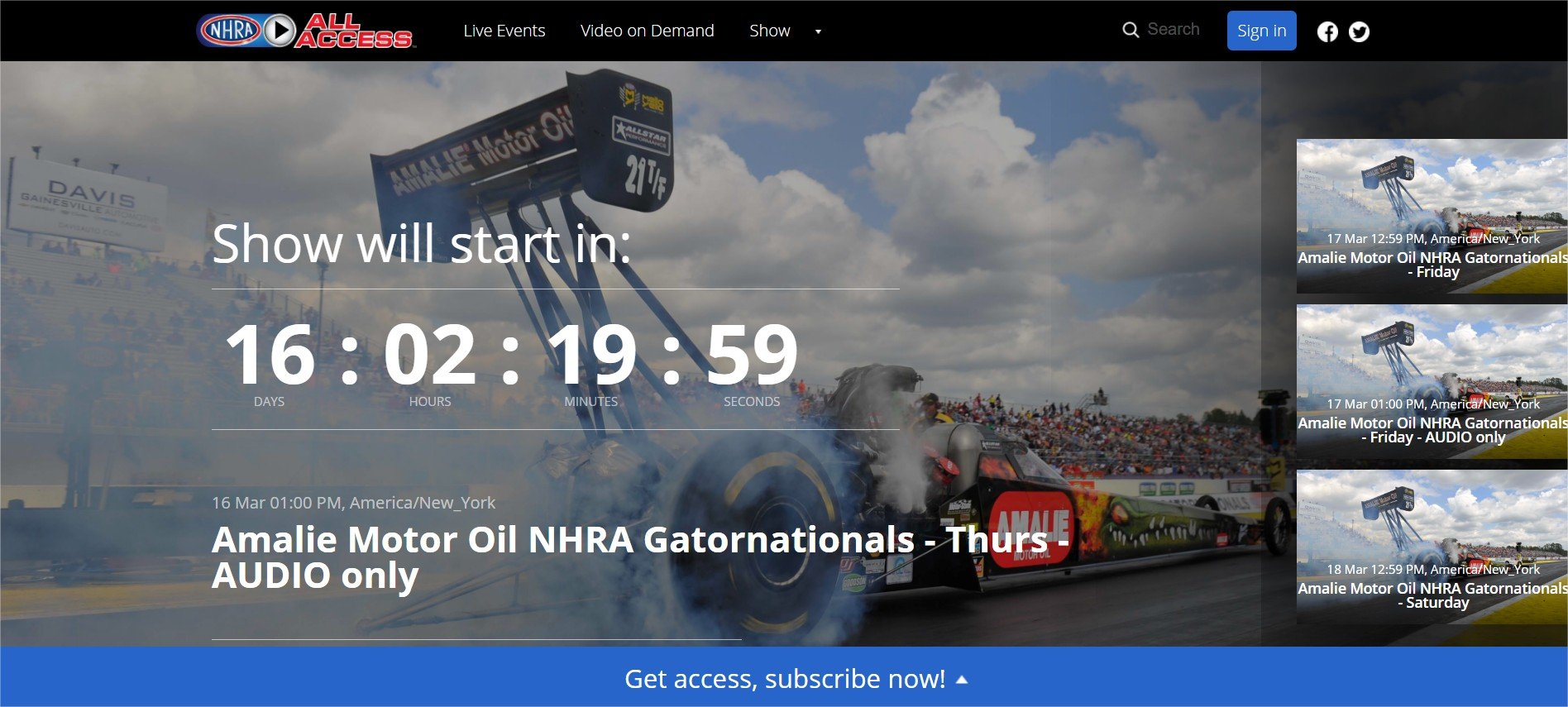 NHRA All Access - powered by Cleeng