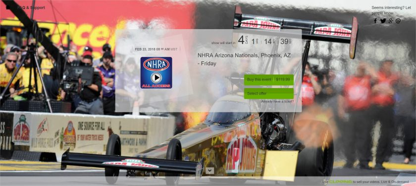 NHRA live PPV event at Cleeng