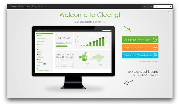 Cleeng dashboard